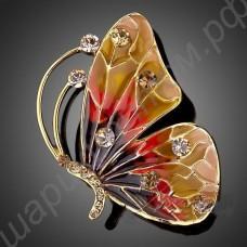 Брошь позолоченная в виде бабочки с фианитами