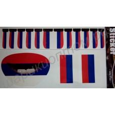 Комплект наклеек с флагом России на ногти, губы и щёки для спортивных фанатов (15 шт.)