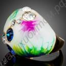 Эмалированное кольцо с белыми и синими фианитами, позолоченное