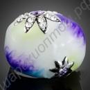 Эмалированное кольцо с цветами из фианитов, позолоченное