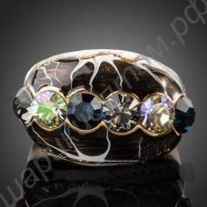 Кольцо с чёрной эмалью и дорожкой из разноцветных фианитов, позолоченное