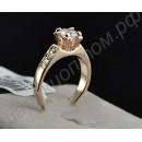 Кольцо для помолвки позолоченное с крупным цирконием