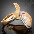 Кольцо в виде изящной змейки, позолоченное, с фианитами разного цвета