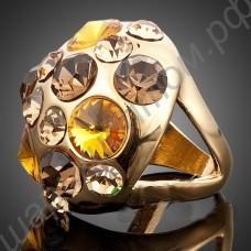 Кольцо позолоченное в виде шара, усыпанного фианитами жёлтого и коричневого цветов