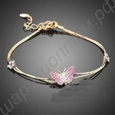 Браслет позолоченный с розовой бабочкой из фианитиков