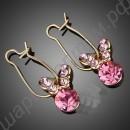 Серьги позолоченные бабочки из розовых фианитов