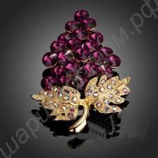 Брошь позолоченная в виде виноградной грозди из фианитов
