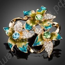 Брошь позолоченная с тремя цветками из фианитов